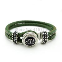 YH-AB06  Islamic Jewelry Olive Leather Bracelet, Rhinestone Allah Muslim Islam Bracelet