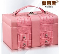 2014New fashion luxury jewelry box  European design cosmetic bag earing and necklace bracelet display storage box