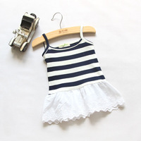 New Children Clothing Summer Girls Brief Fresh Striped Sleeveless Cotton Dress