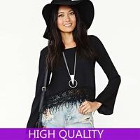 Blusas Femininas 2014 New Fashion Shirt Women Solid Ladies' Tops Hollow Tassel Chiffon Shirt Casual Women Blouse Plus Size