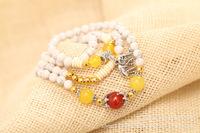 Natural white Turquoise lovers Bracelet original design. Sri Lanka Buddha head purse the lucky auspicious Pendant bracelet.