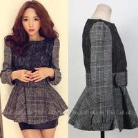 Vintage Autumn and Winter Slim Body Plaid Blend Wool Women Winter Dress Black Lace High Waist Women Dres without Belt