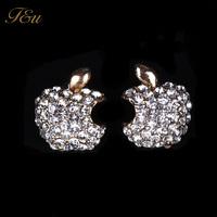 Trendy Fashion Exquisite Sweet Leaf Apple iphone Logo Rhinestone Metal Gold Plated Earring Stud#200