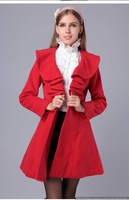 The 2014 New Autumn Winter Women European Princess Stylish Pleated Personal Ruffles Beautiful Elegant  Gentlewomen Slim Coats