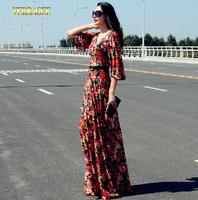 Verragee Women Summer Dress 2014 Flare Sleeve Red Print Lace Dress Party Evening Dresses Long Maxi Dress Vestido De Festa