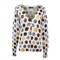 Fashion 2014 Autumn Women's Fancy Leopards Printed V-neck Slim Knitted Cardigans Cotton Sweaters