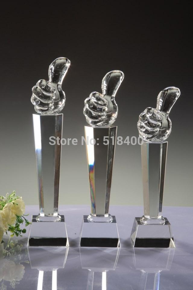 NEW design High quality hot selling stock crystal corporate award crystal thumb up award in stock(China (Mainland))