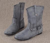 2014 new large size women's boots flat boots fashion boots women smoke gray elastic leg opening   40  41