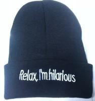 10 PCS/LOT relax I'm hilarious Beanies Autumn Winter Wool Knitted Men Women Caps Casual Skullies Hip-hop