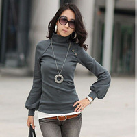 2014 winter new fashion plus size women clothing blouses button sexy tops shirts Sexy High collar lantern long sleeve blouse!