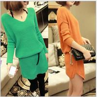 Free shipping new 2014 qiu dong v-neck long knitwear fashion joker unlined upper garment sweater dress