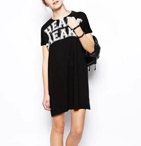 QZ1199 New Fashion Ladies' elegant letters print Dress O neck short sleeve casual slim street wear brand designer dress(China (Mainland))