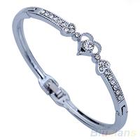 Women's Fashion Crystal Rhinestone Love Heart Wedding Bangle Bracelet Gift  00RA