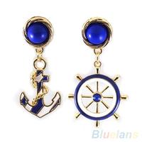 Women's Elegant Navy Anchor Helm Style Alloy Long Dangle Drop Jewelry Earrings  00X1