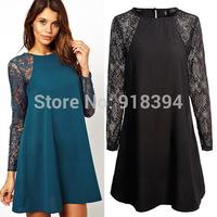 New 2014 Casual Women Dress Hollow Out Sexy Chiffon Lace Plus Size Blue Black Lady Dress High Quality  E6659