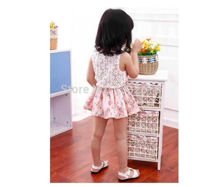 Summer 2014 New Girl Dress Wholesale Korean Girls Lace Casual Hollow Girls Dress Summer Kids Clothes Children Clothing WNS(China (Mainland))