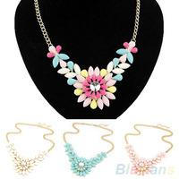 Women's Multicolor Resin Flower Crystal Pendant Collar Necklace Costume Jewelry necklaces & pendants 00GJ