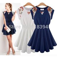 Fashion Women Dress 2014 Pleated Mini Dress Casual Sleeveless With Lace Summer Dress Ruffles Women Dresses B1198