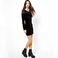 Fall 2014 New fashion women's casual dress sexy maturity velvet long-sleeved yarn round neck dress free shipping
