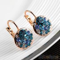 Hot  Women's Fashion 9K Rose Gold Plated Ear Clip Austrian Crystals Earrings  00UW