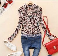 2014 New Women summer V-neck chiffon blouse Leopard casual Long Sections Chiffon Long-Sleeved Shirt blusas femininas