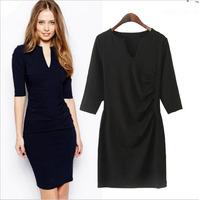 Fall 2014 fashion new women's aumtunm Super beautiful temperament Slim solid color V-neck Slim Dress