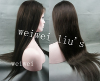 Women's Wigs Brazilian Human Hair Straight Full lace wig  with baby hair bleached knots Dark Brown free shipping