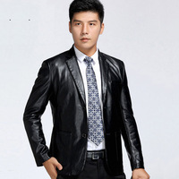 Spring new seven wolf fur collar casual men's suit jacket Slim young male sheep skin leather suit