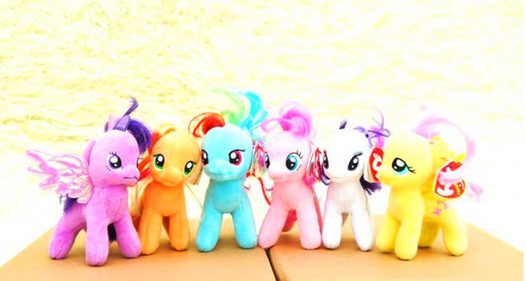 Brand New My Little Pony 10 CM Plush Key Ring Six Colors 6 PCs/Set Best Gift Kids Toy Free Shipping(China (Mainland))
