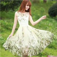 2014 summer hot-selling vintage slim waist sleeveless chiffon one-piece dress organza embroidered dress