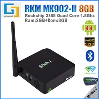 DHL free RKM MK902II Quad Core TV Box RK3288 RAM 2G ROM 8G ROM Dual band WIFI Support 4k H.265 Bluetooth Android tv box