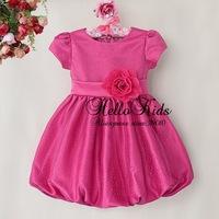 Newest Fashion Kids Flower Dress Lace Chirstmas Dresses Polyter Girls Hot Pink Lantern Dress Children Clothing