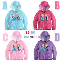 NEW Free shipping 5pcs/lot children clothing girls hoodies jacket girls frozen outerwear girls character zipper  jacket 2-6Year