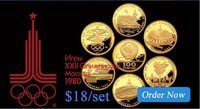 Coin Sets USSR - 1980 Olympic Games 80 par value of 100 rubles gold russia COPIES  1 set / lot