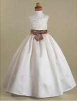 Custom colors/sizes A-line Scoop Floor-length Satin Flower Girl Dresses/vestido de dama de honra de crianca Free shipping WD08