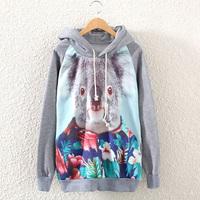 [bunny] 2014 New Fashion Casual Lady Women Gray  Hooded Pullover Long Sleeve Animal koala Printed women's Sweatshirt Hoodie J4