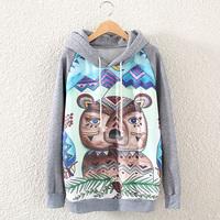 [bunny] 2014New Fashion Casual Lady Women Gray  Hooded Pullover Long Sleeve cartoon bear Printed women's Sweatshirt Hoodie