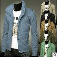 Hot Sale 2014 Fashion Autumn Winter Men's Clothing 8 Solid Color Turtleneck Zipper Outerwear Coats Male Slim Thin Jackets