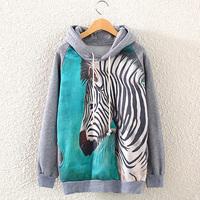 [bunny] 2014New Fashion Casual Lady Women Gray  Hooded Pullover Long Sleeve ZEBRA Printed women's Sweatshirt Hoodie