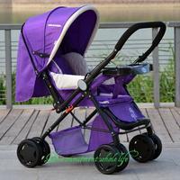 Reclining stroller stroller canopy can take a full two-way folding baby stroller four lightweight cushioning trolley