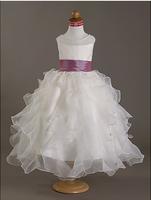 Custom Ball Gown Scoop Floor-length Pearls Satin Organza Flower Girl Dress Free shipping WD08