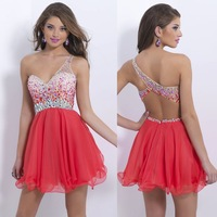 2014 Gorgeous Pretty Red Girls Short Homecoming Dresses A-Line Beads One Shoulder Backless Mini Party Prom Gowns