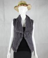2014 Autumn and winter women's brand top quality fashion 100% genuine rabbit fur vest knitted fur vest waistcoat