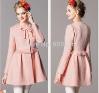 2014 women's high waist autumn outerwear wool coat woolen outerwear