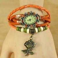 Aliexpress sales rose Fashion Bracelet Watch retro roll Qian Shu Butterfly Pendant Watch Leather wholesale table
