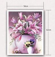 Free shipping DIY Diamond Painting 5d Round diamond pink lily Rhinestone Cross Stitch Kits Diamond Embroidery Set