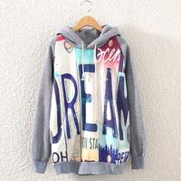 2014 New Fashion Casual Lady Women Gray  Hooded Pullover Long Sleeve English alphabet  Printed women's Sweatshirt Hoodie J1