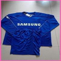 2015 Factory Price  Chelsea Long Sleeve Home Uniform,Men Breathable Chelsea 14/15 LS Blue Sets,Size S-XL,Free Ship