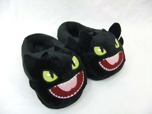 Christmas gift HOT MOVIE TV How to Train Your Dragon Toothless Night Fury soft plush black slippers soft stuffed house shoes(China (Mainland))