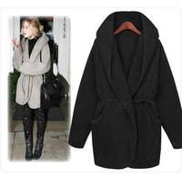 Fashion 2014 Autumn Winter Hooded Belt Loose Cloak Warm Coat Thick Faux Fur Coat For Women Jacket Lady Brief Outerwear Coats